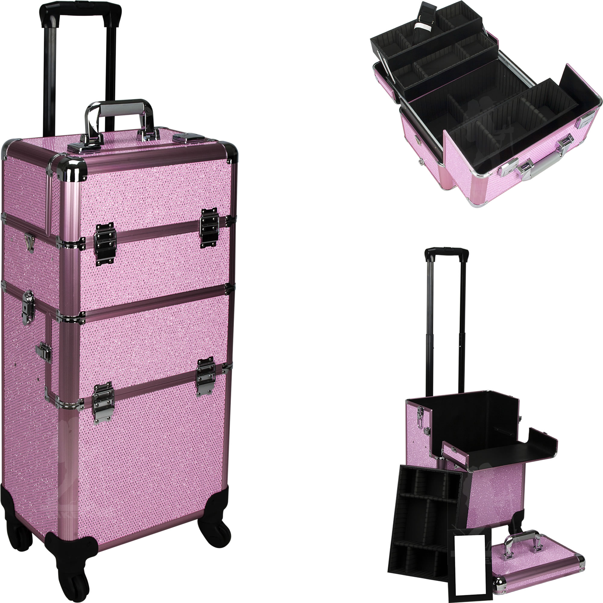 Pink Crystal Rolling Makeup Case